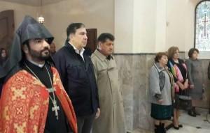 Саакашвили в армянской церкви